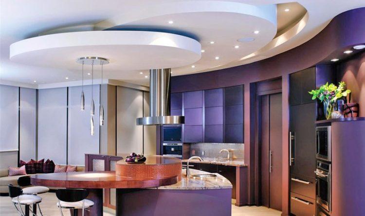 Красивые потолки из гипсокартона в гостиной