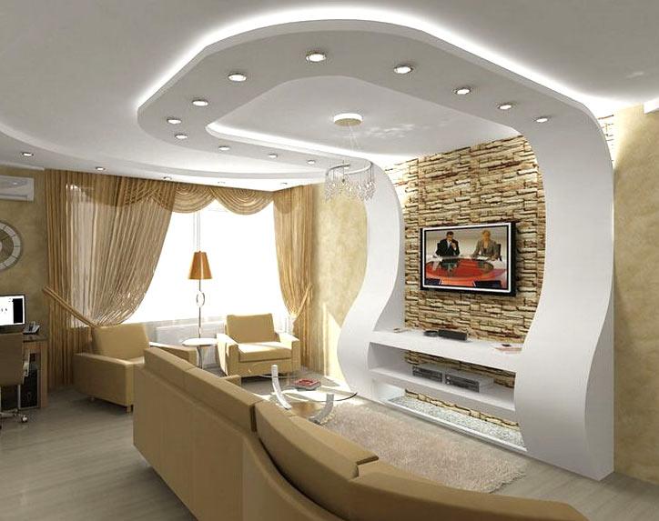 Фигурный потолок из гипсокартона для зала