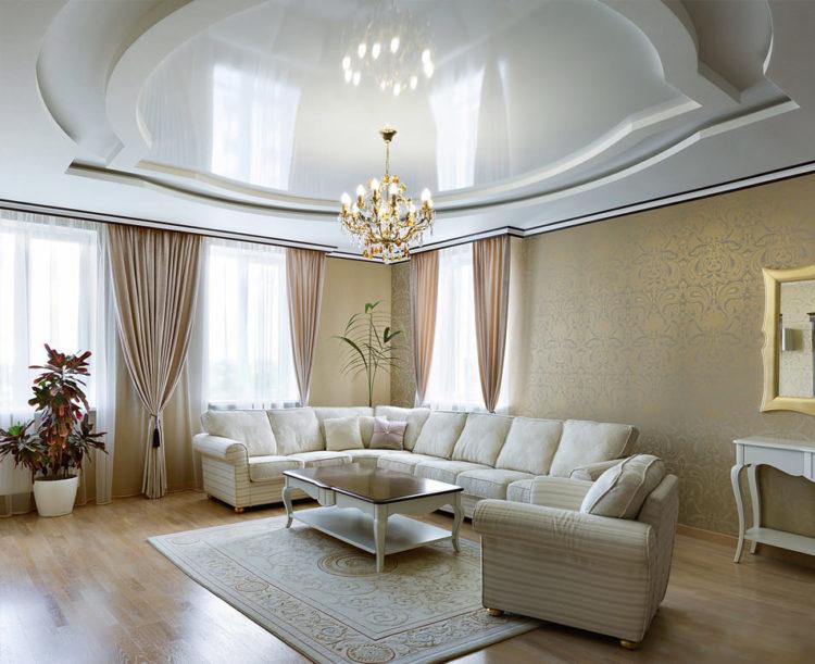 Натяжные потолки фото для гостиной