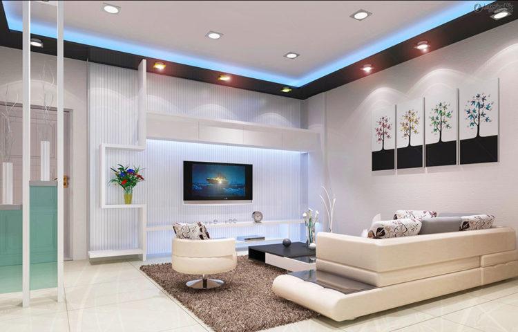 Потолок натяжной в гостиную современную
