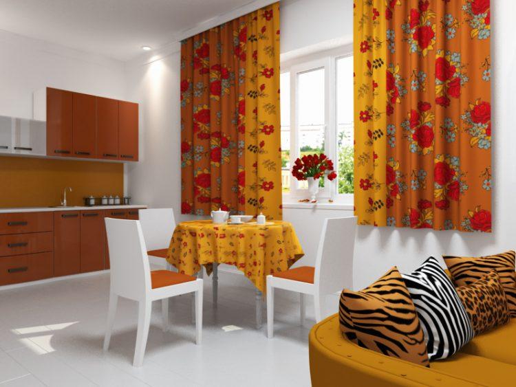 Шторы на кухню оранжевого цвета фото