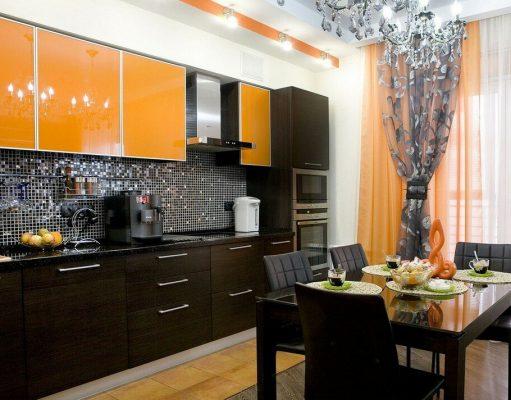 Шторы для кухни в оранжевых тонах
