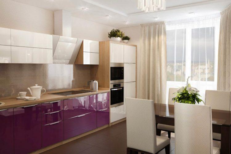 Бежевая с фиолетовым кухня