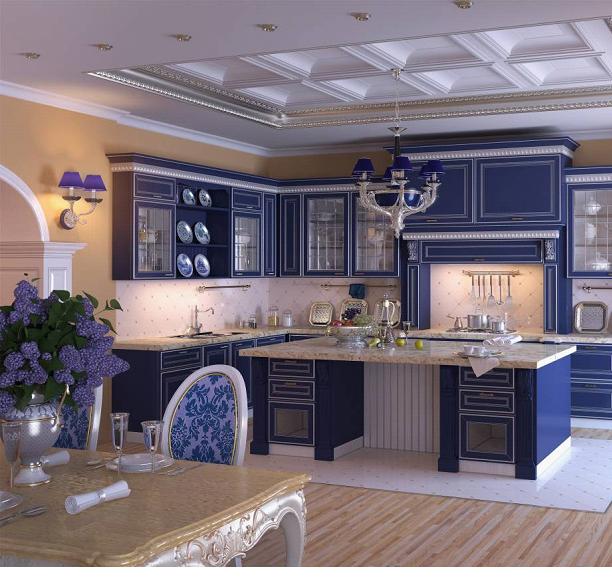Классические кухни в синем цвете
