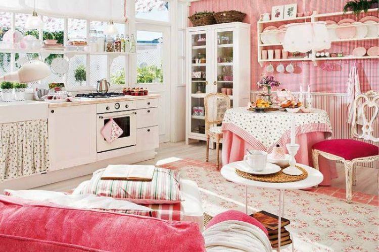 Кухня в стиле Прованс розовая