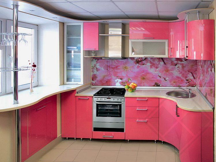 Кухонный гарнитур угловой розовый