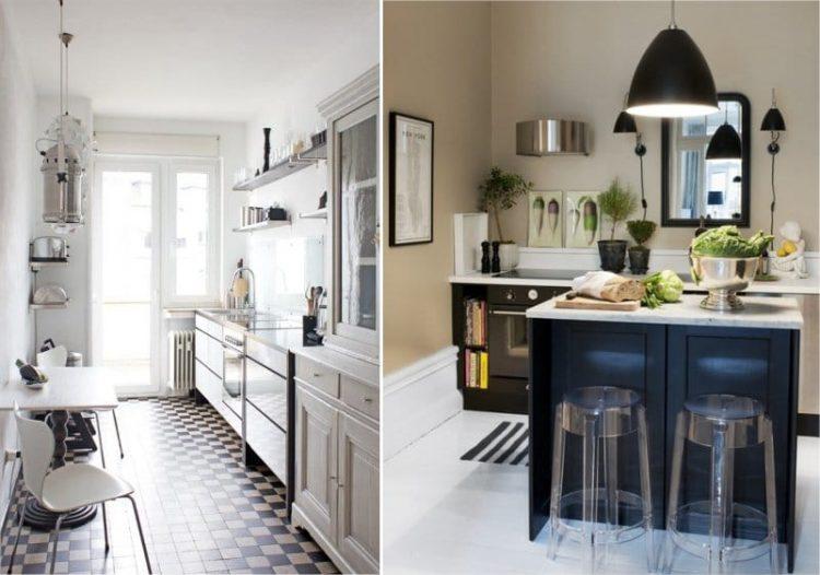 Сочетание бежевого и черного в интерьере современной кухни