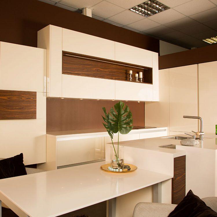 Кухня в стиле Хай тек бежевая