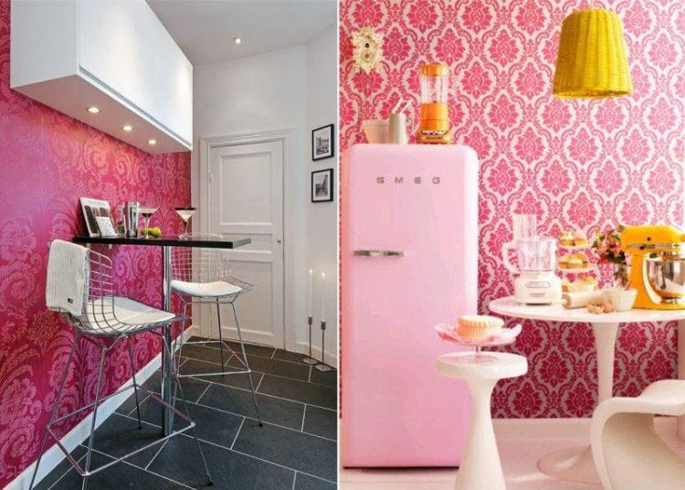 Сочетание розового в интерьере кухни