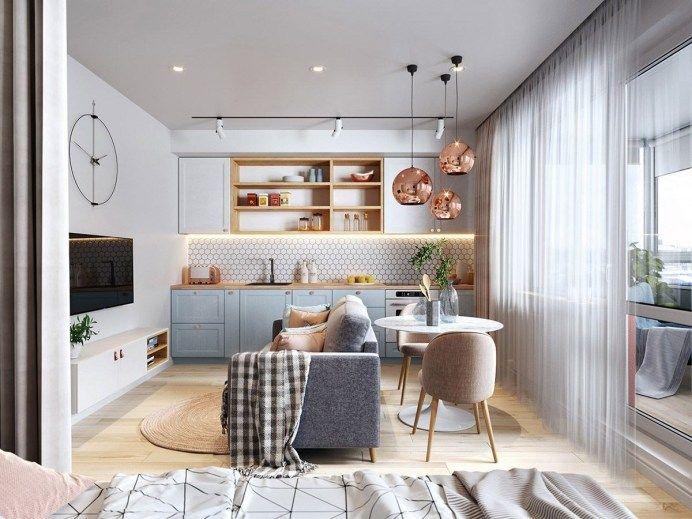 Дизайн гостиной в 11 кв. м, совмещенной с кухней и выполненной в скандинавском стиле