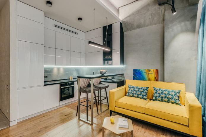 Интерьер гостиной и кухни с зонированием