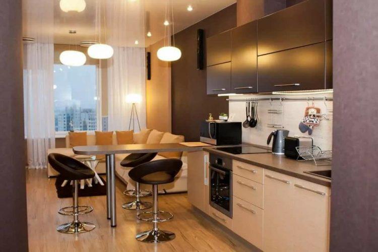 Кухня-гостиная 10 кв м с барной стойкой и диваном