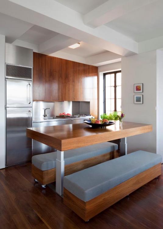 Дизайн зала и кухни на 10 кв. м с трансформируемой мебелью