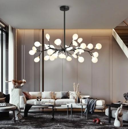 Люстры в современном стиле в гостиной