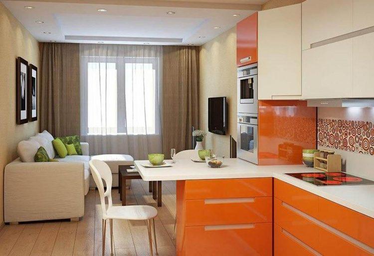 Традиционная гостиная-кухня площадью 16 кв. м