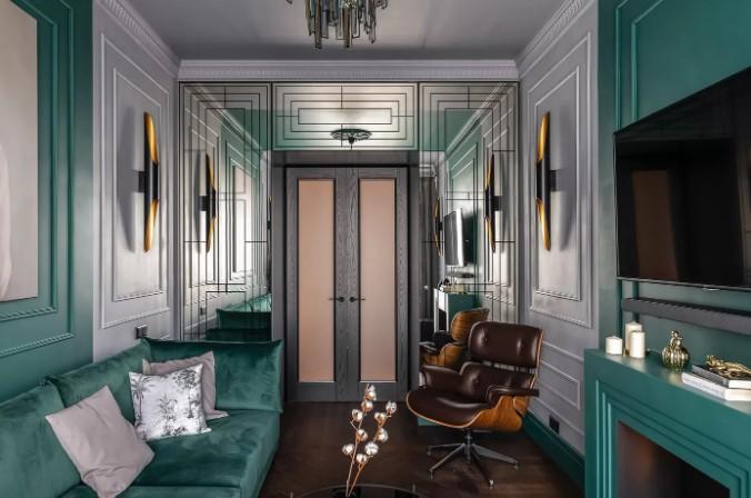 Роскошный изумрудный интерьер классического зала на 16 кв. м.