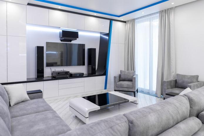 Дизайн в стиле хай-тек с диваном в гостиной площадью 16 м.