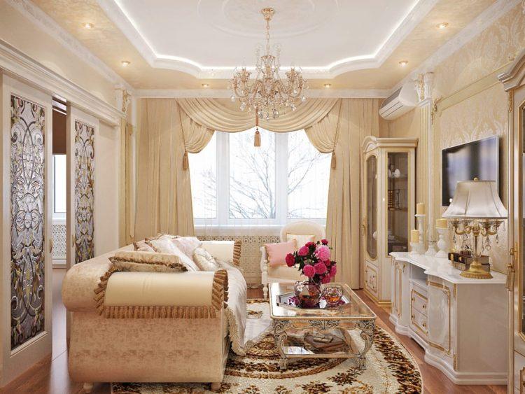 Интерьер зала 16 кв. м в стиле классицизм