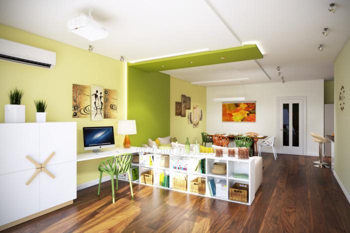 Зонирование цветом стен кухни-гостиной