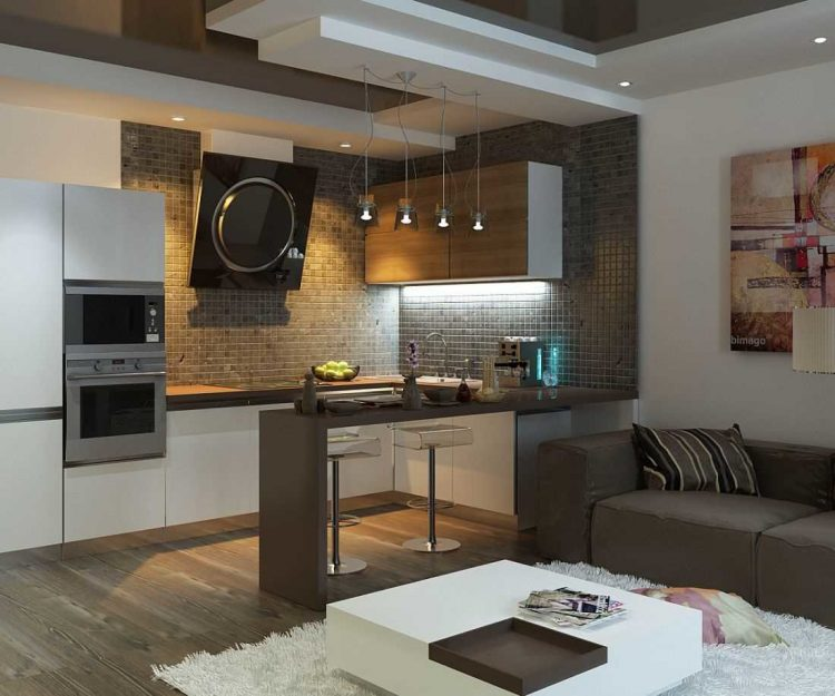 Дизайн интерьера кухни-гостиной