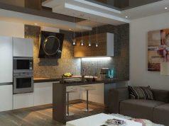 Кухня с гостиной в студии
