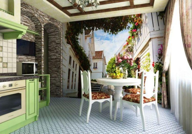 Провинция Прованс в интерьере, изображенная на фреске в кухне
