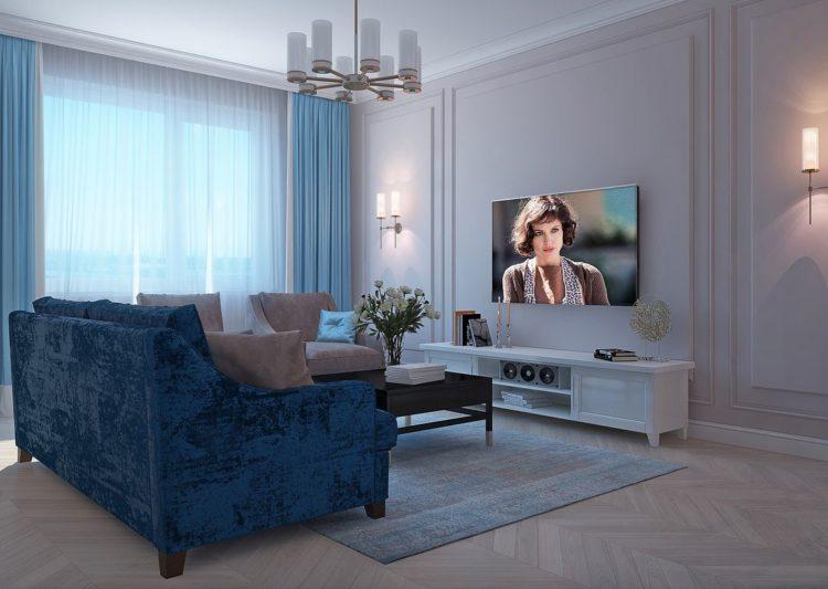 Молдинги в интерьере гостиной