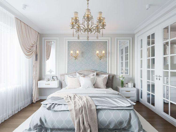 Молдинги в спальне
