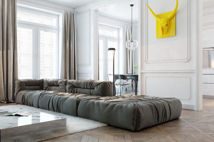 Молдинги в гостиной в скандинавском стиле
